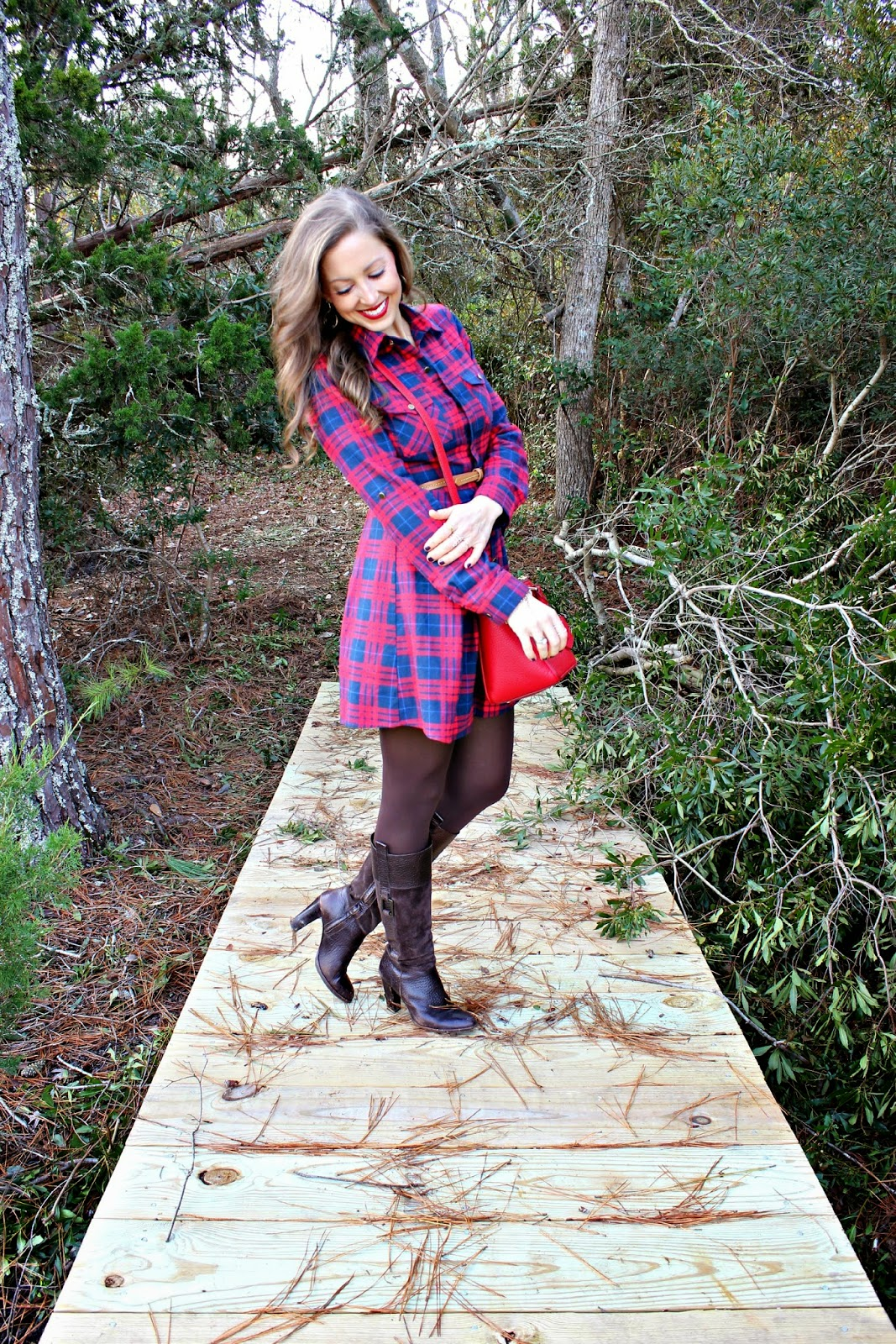 Plaid Dress Saltwater And Stilettos Tory Burch Ronbinson Pebbled Mini Square Brina Box Obsessed With This One Too Robinson Tote Purse Banana Republic Boots Old Similar Stella Dot