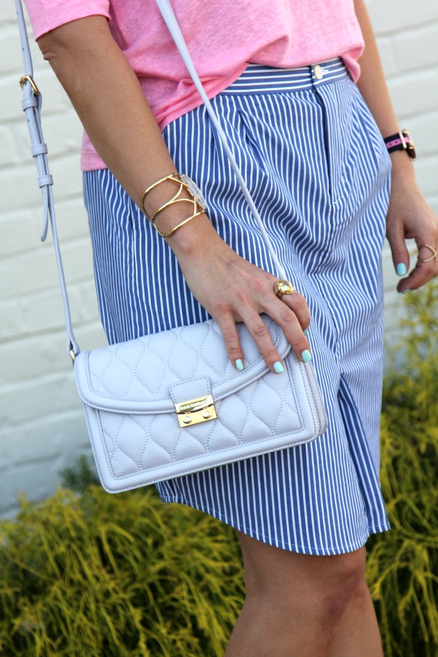 Striped Chambray Pink Tee Saltwater And Stilettos