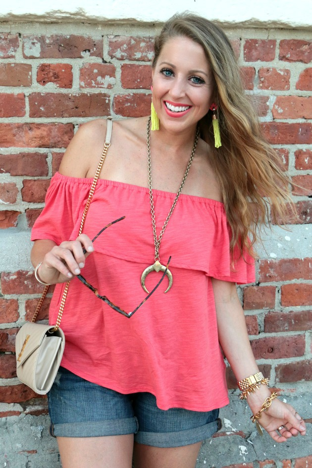 957d189cb8f769 Sunset coral off the shoulder top saltwater and stilettos jpg 630x945 Coral  off the shoulder top
