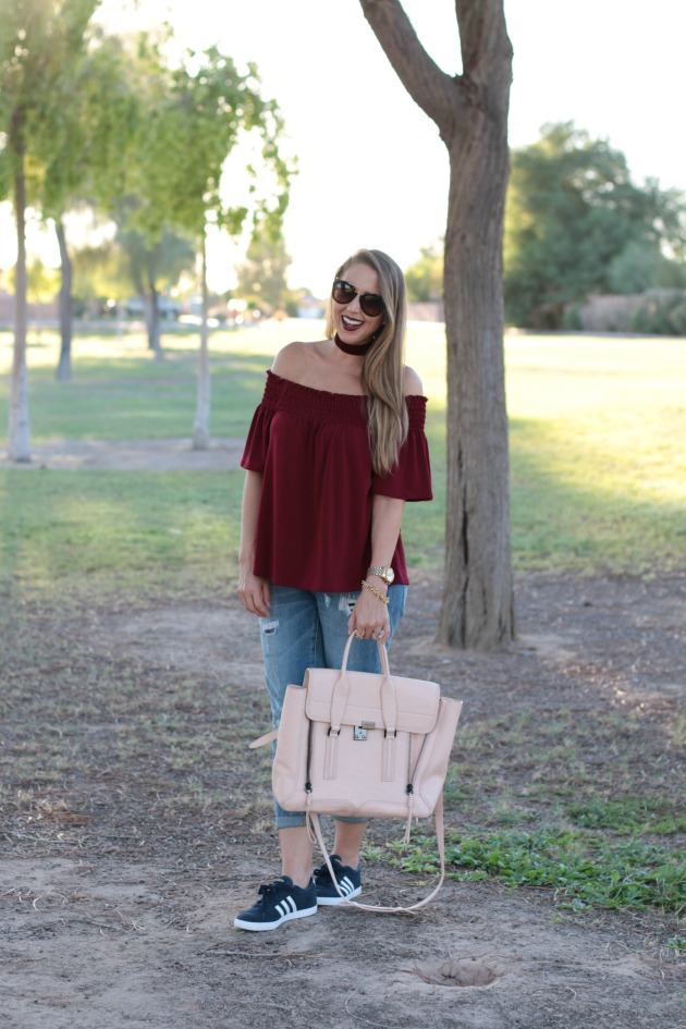 over-the-shoulder-top-with-choker-adidas-prada-sunglasses-phillip-lim-bag-and-casual-outfit-1
