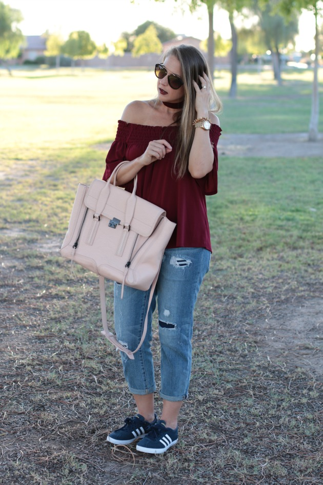 over-the-shoulder-top-with-choker-adidas-prada-sunglasses-phillip-lim-bag-and-casual-outfit-3