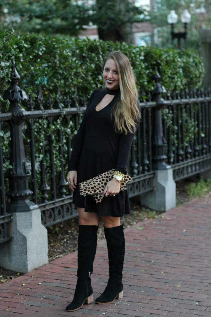 little-black-dress-leopard-clutch-and-over-the-knee-boots