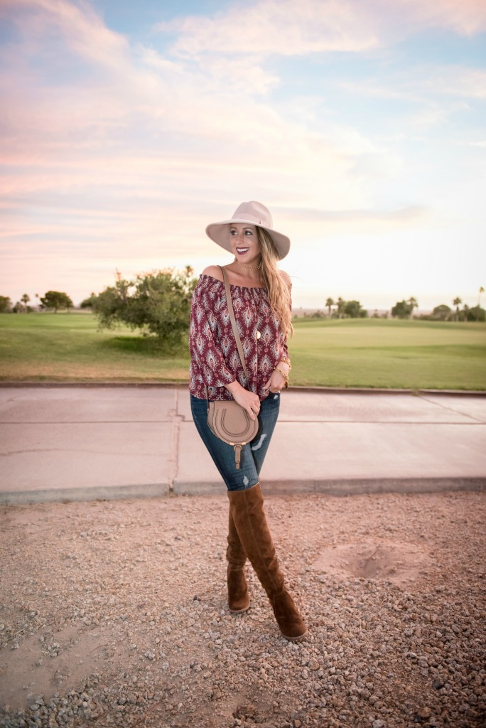 off-the-shoulder-top-over-the-knee-boots-chloe-crossbody-bag-distressed-denim-and-panama-hat-2