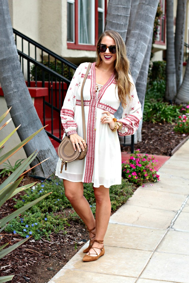 Embroidered Dress and Lace up flats