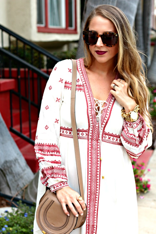 Embroidered Dress and Chloe Crossbody bag