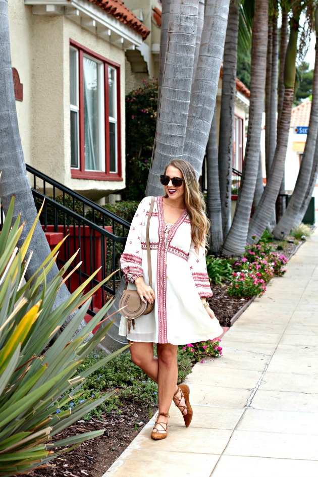Embroidered Dress with Lace up shoes and chloe bag