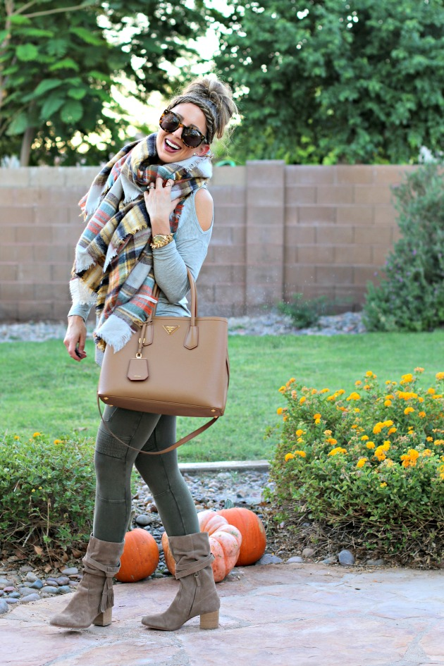 blanket-scarf-moto-leggings-cold-shoulder-top-prada-bag-and-tassel-booties-2