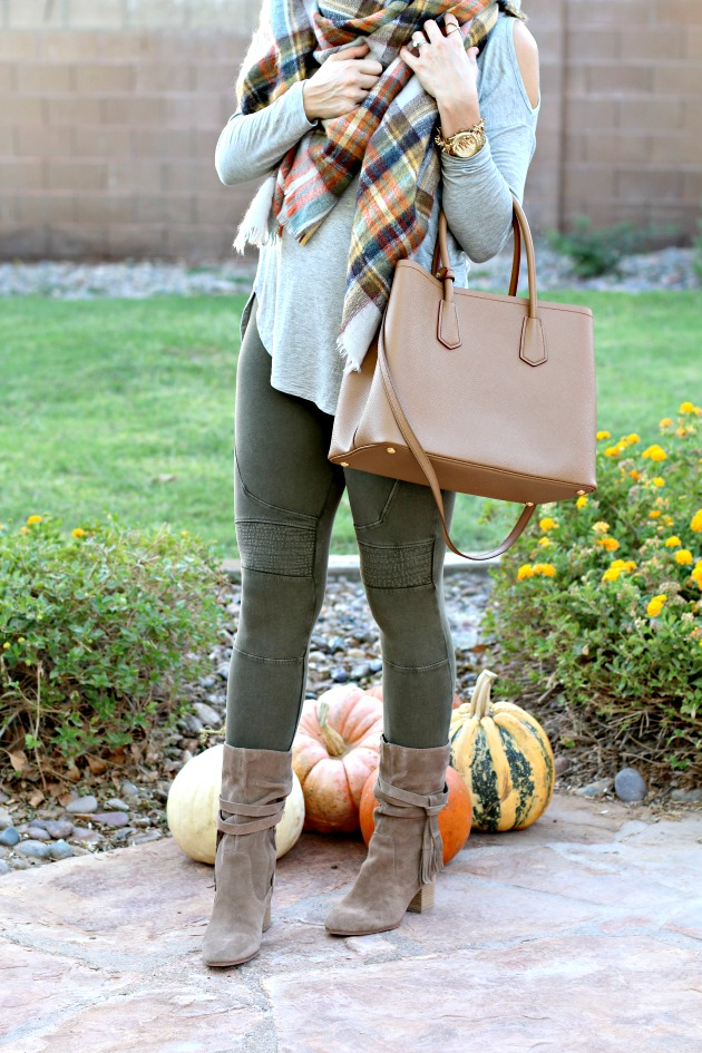 blanket-scarf-moto-leggings-cold-shoulder-top-prada-bag-and-tassel-booties-6