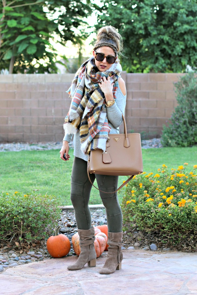 blanket-scarf-moto-leggings-cold-shoulder-top-prada-bag-and-tassel-booties