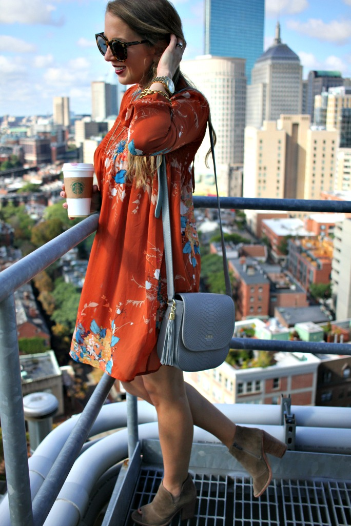 rooftop hotel-fall-floral-babydoll-dress-cross-body-bag-and-booties