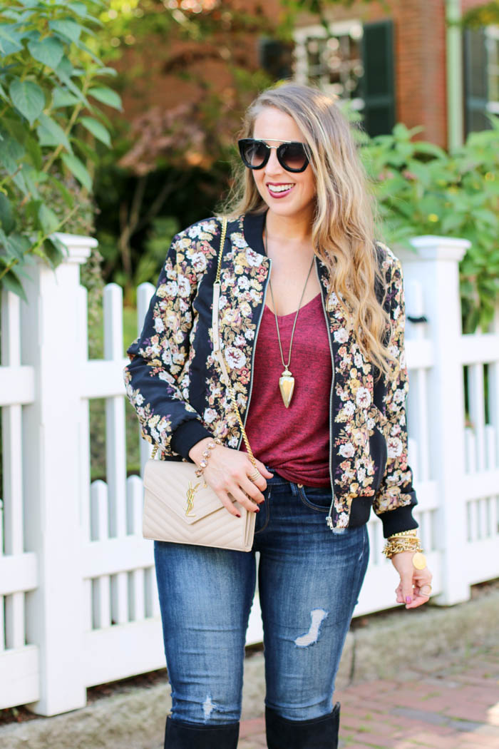 fall florals moto jacket