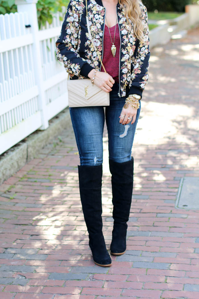 fall florals moto jacket, boots, kendra scott and ysl