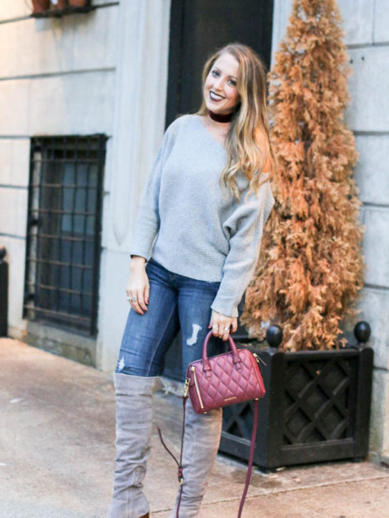 Grey Off the Shoulder and Burgundy Pops