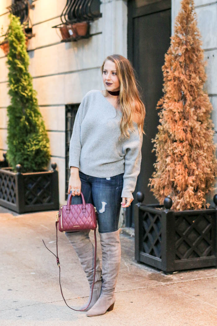 grey-off-the-shoulder-verabradley-bag-baublebar-choker-solesociety-boots