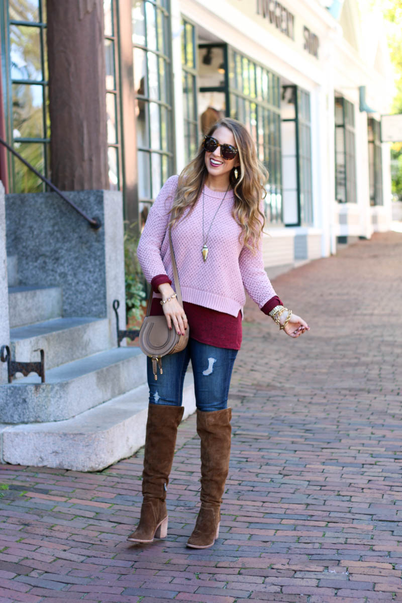 blush and burgundy crop top