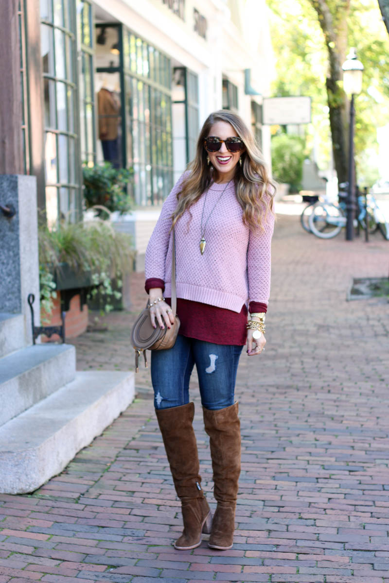 blush and burgundy, over the knee boots