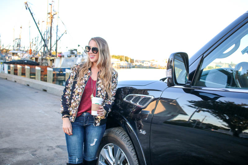 Hertz, adventure, and floral bomber jacket