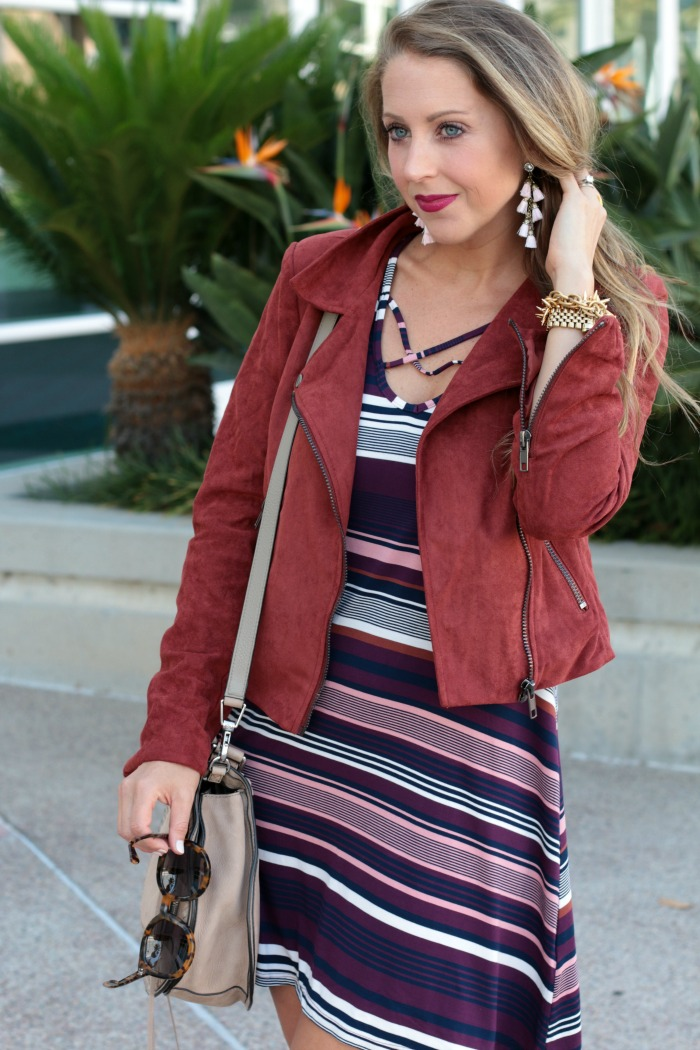striped-cross-front-dress-booties-moto-jacket-tassels-earrings-and-rebecca-mink-saddle-bag-4