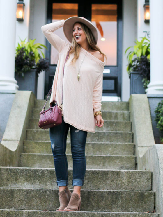 Blush Off the Shoulder Split Back Pullover