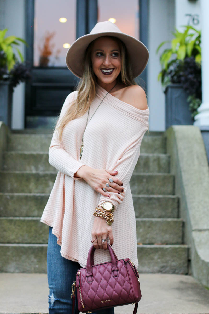 blush-off-the-shoulder-pullover-sweater-vera-bradley-and-kendra-scott-jewelry-1-of-1
