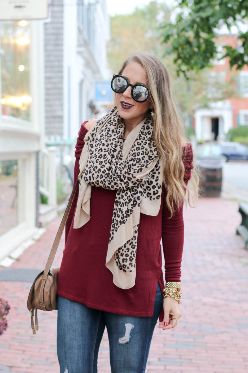 Leopard scarf, off the shoulder top, booties and chloe bag, fall look