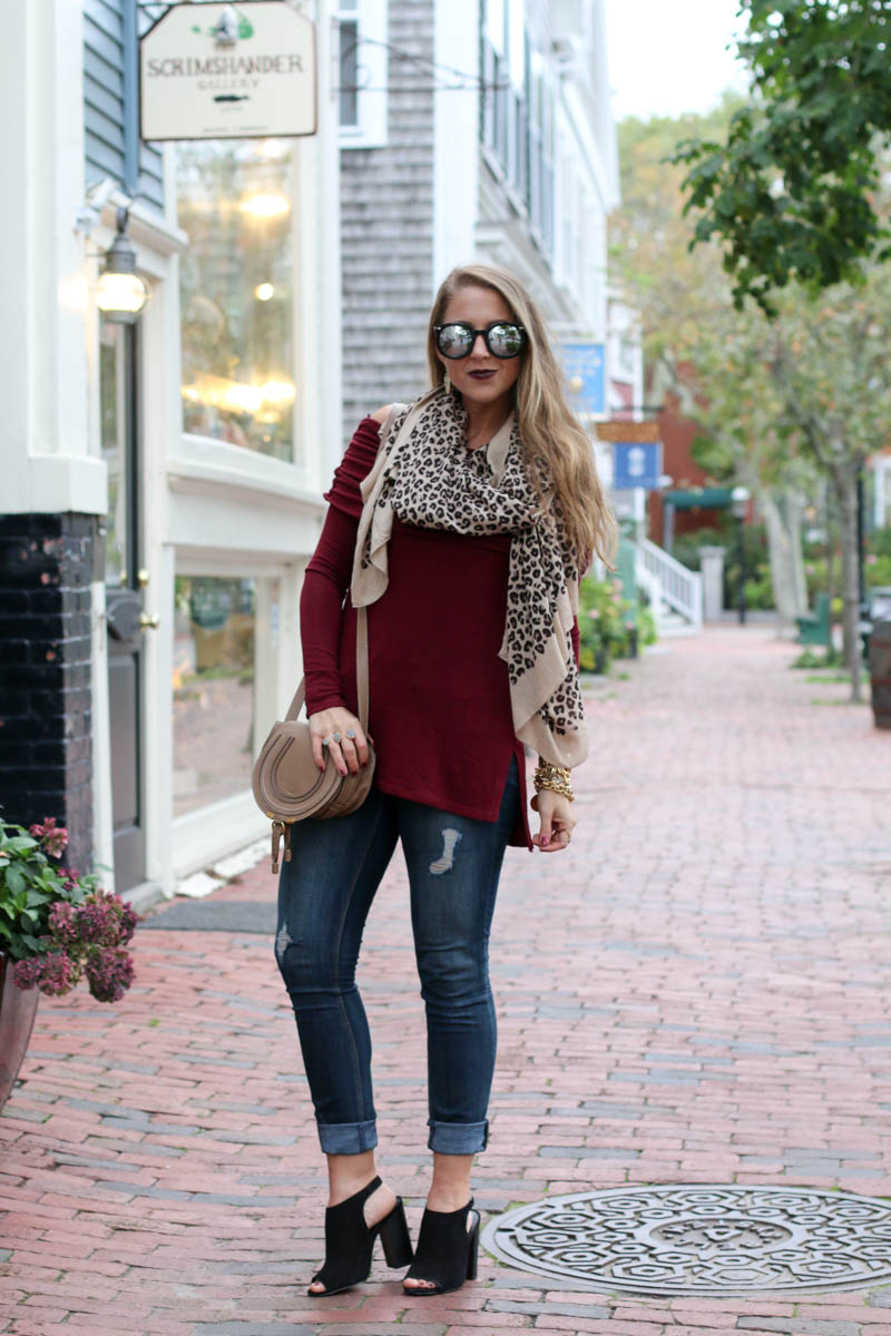 burgundy-off-the-shoulder-leopard-scarf-karen-walker-sunglasses-chloe-crossbody-bag-2-of-11