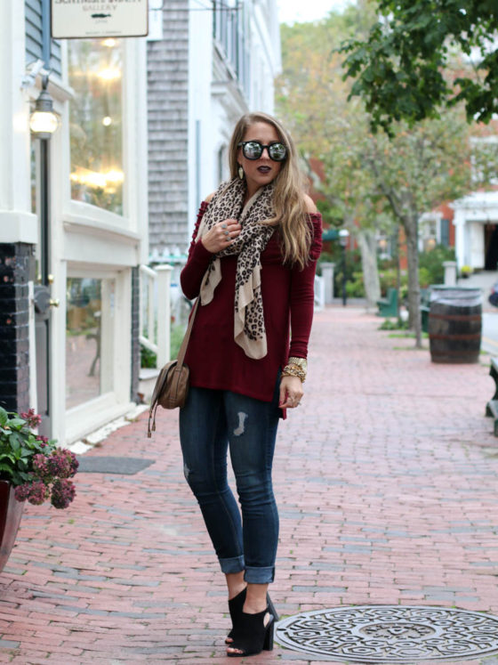 Leopard Scarf and Off the Shoulder Top