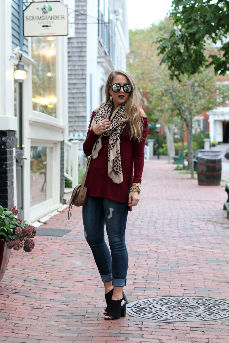 burgundy-off-the-shoulder-leopard-scarf-karen-walker-sunglasses-chloe-crossbody-bag-4-of-11