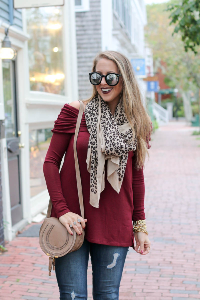 burgundy-off-the-shoulder-leopard-scarf-karen-walker-sunglasses-chloe-crossbody-bag-6-of-11