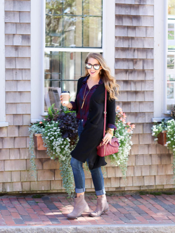 Booties, Plaid, and Long Line Cardigan