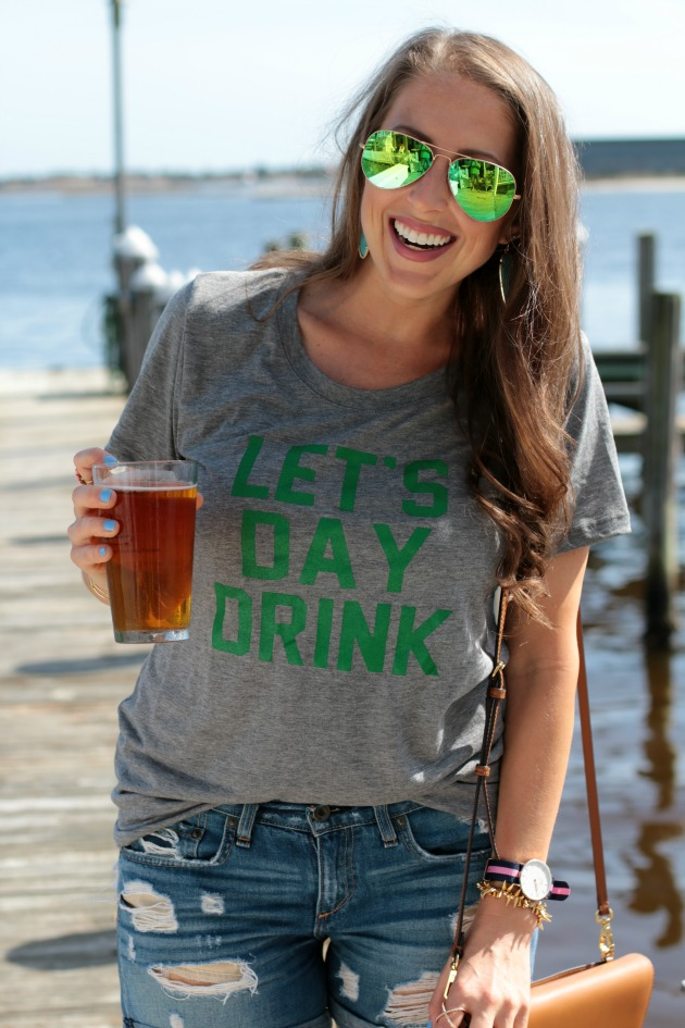 let's day drink tee, st paticks day beer