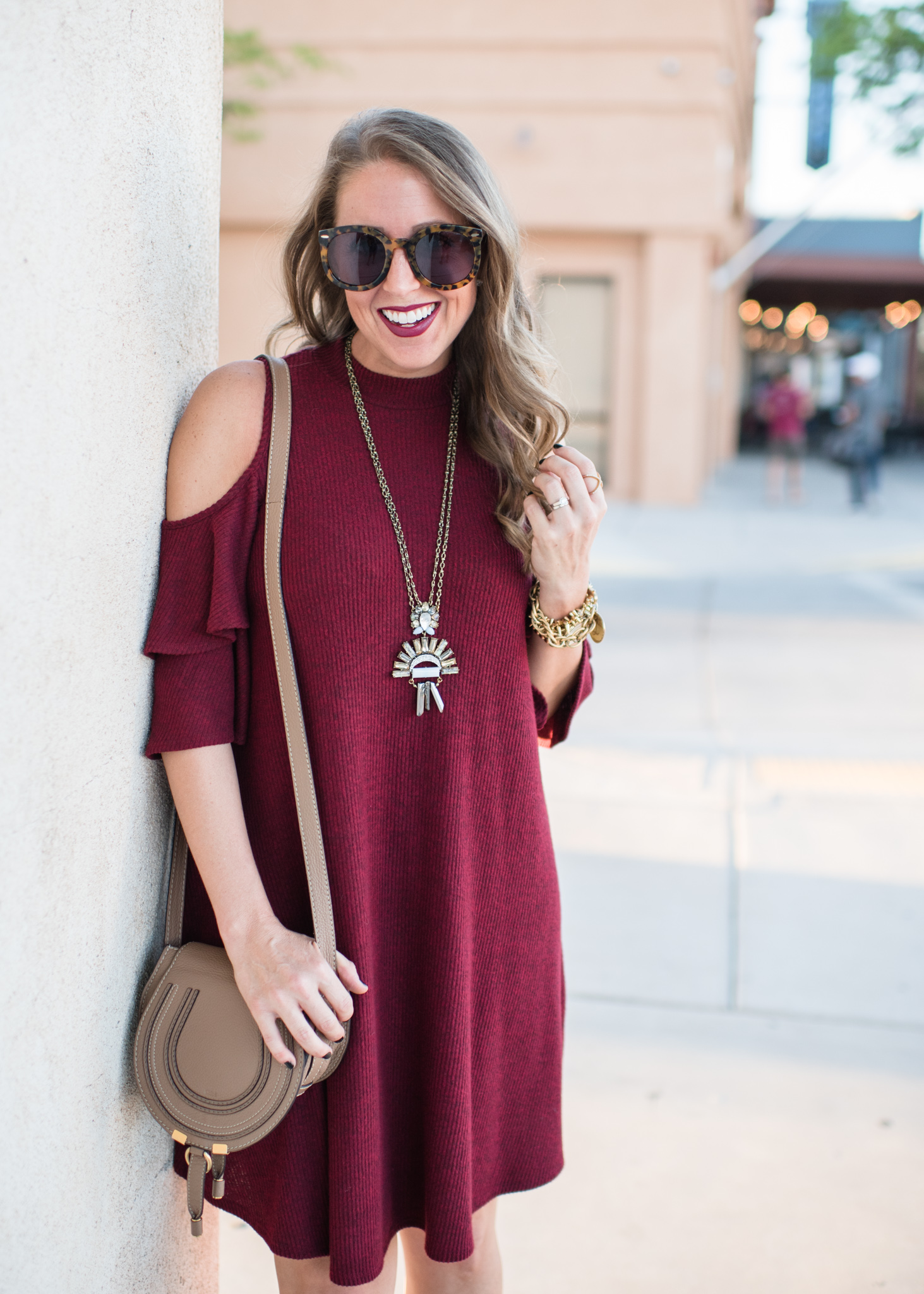 Cold shoulder dress, booties and statement necklace