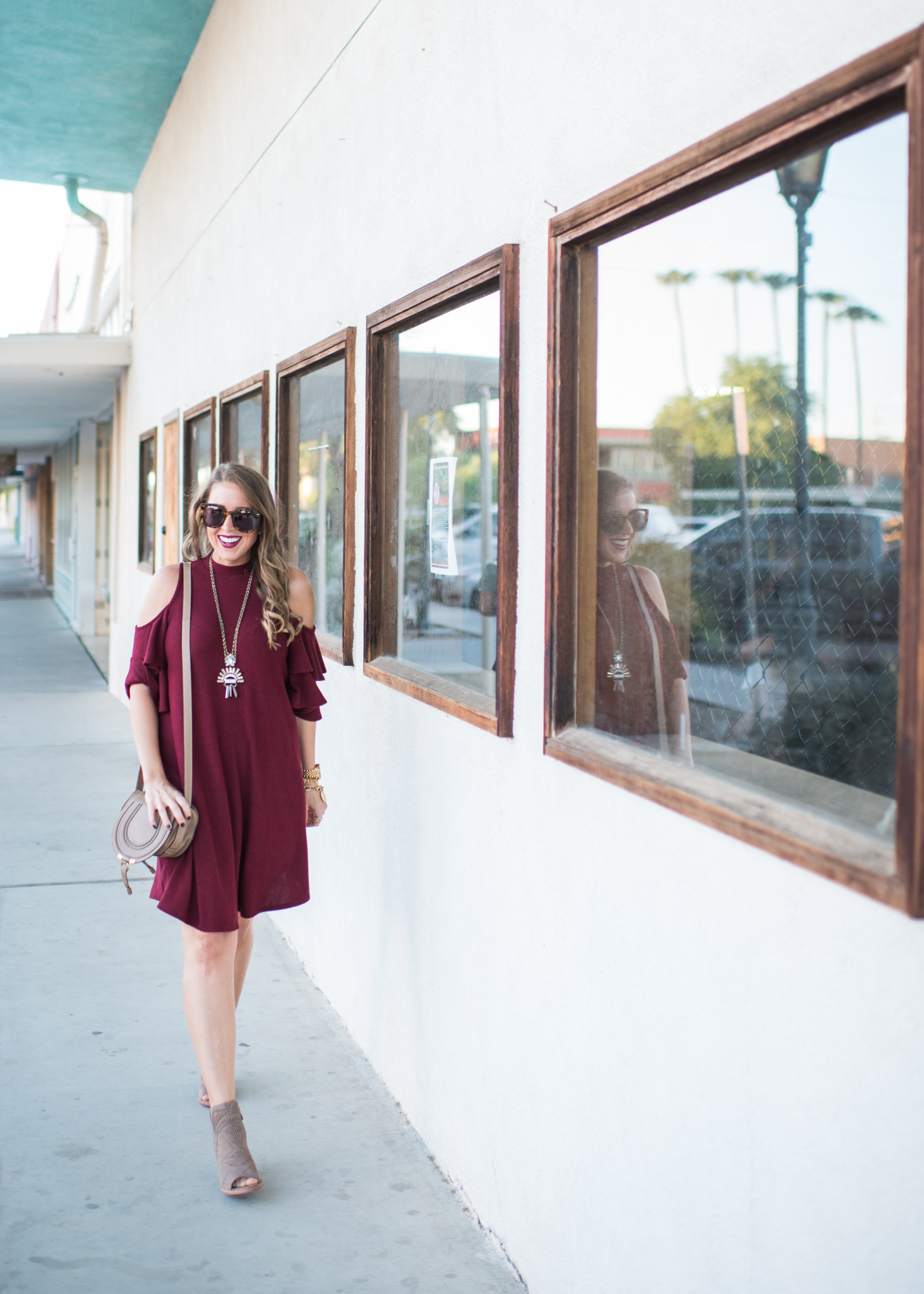 ruffle cold shoulder shift dress, fall booties, statement necklace and chloe crossbody bag