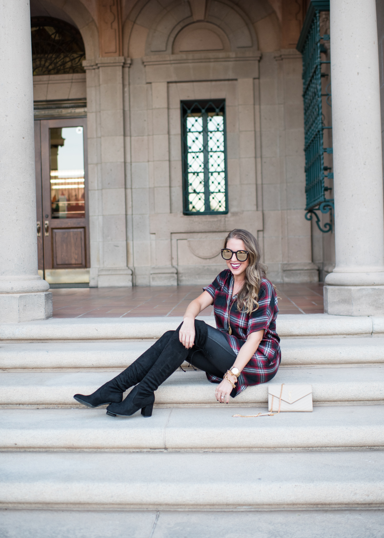plaid shirtdress, over the knee boots and ysl