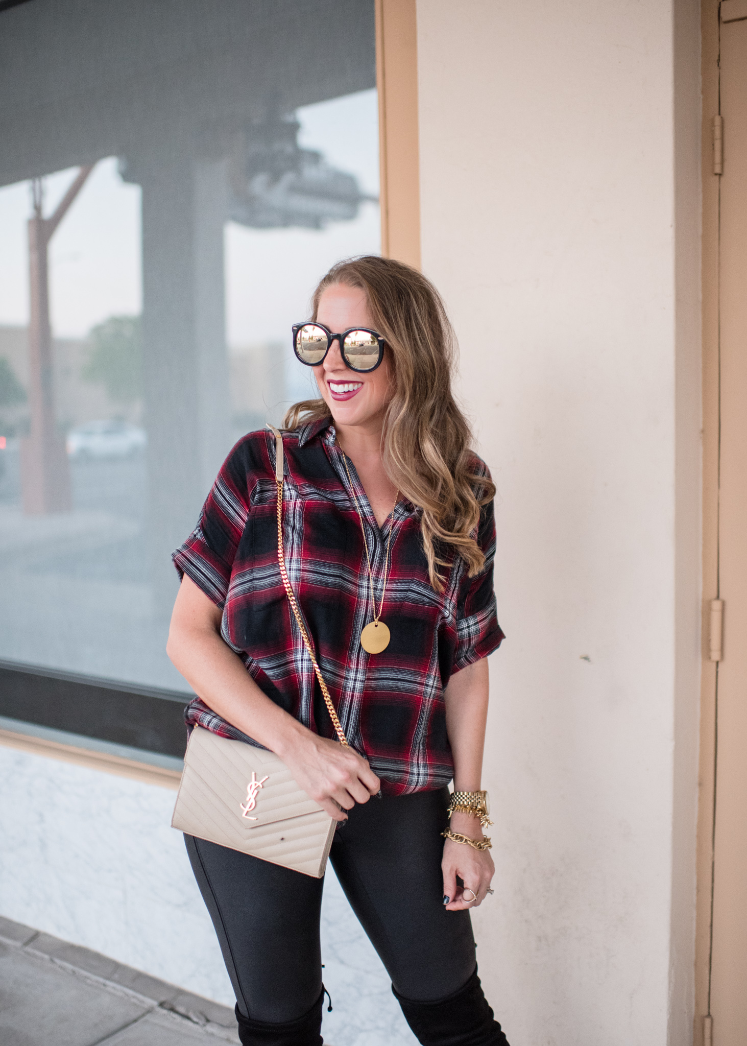 Madewell plaid shirt dress, over the knee boots and fall look