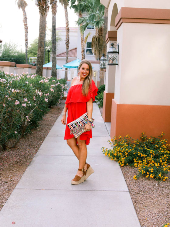 Red Ruffle Off the Shoulder Dress