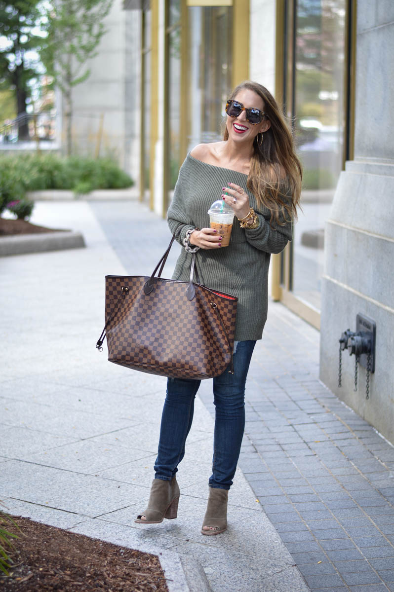 off the shoulder tunic and peep toe booties