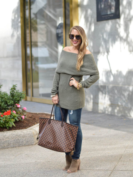 Off the Shoulder Tunic and Peep Toes