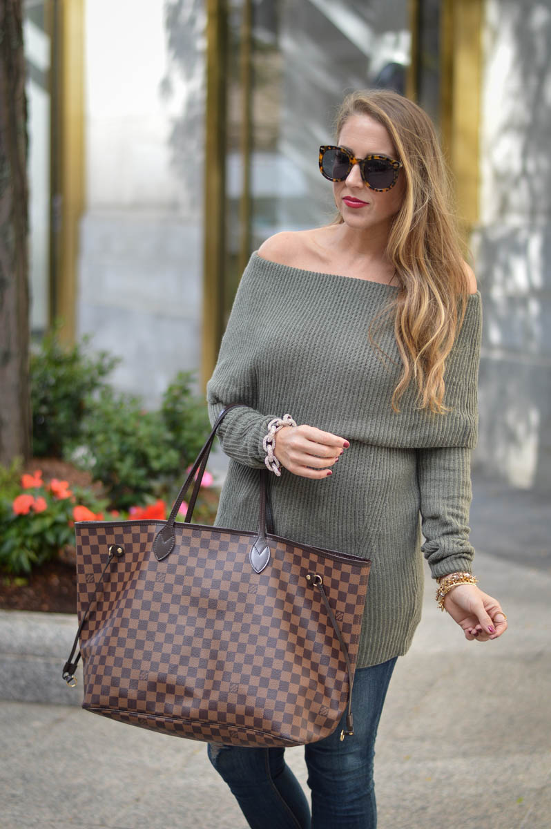 off the shoulder tunic and louis vuitton