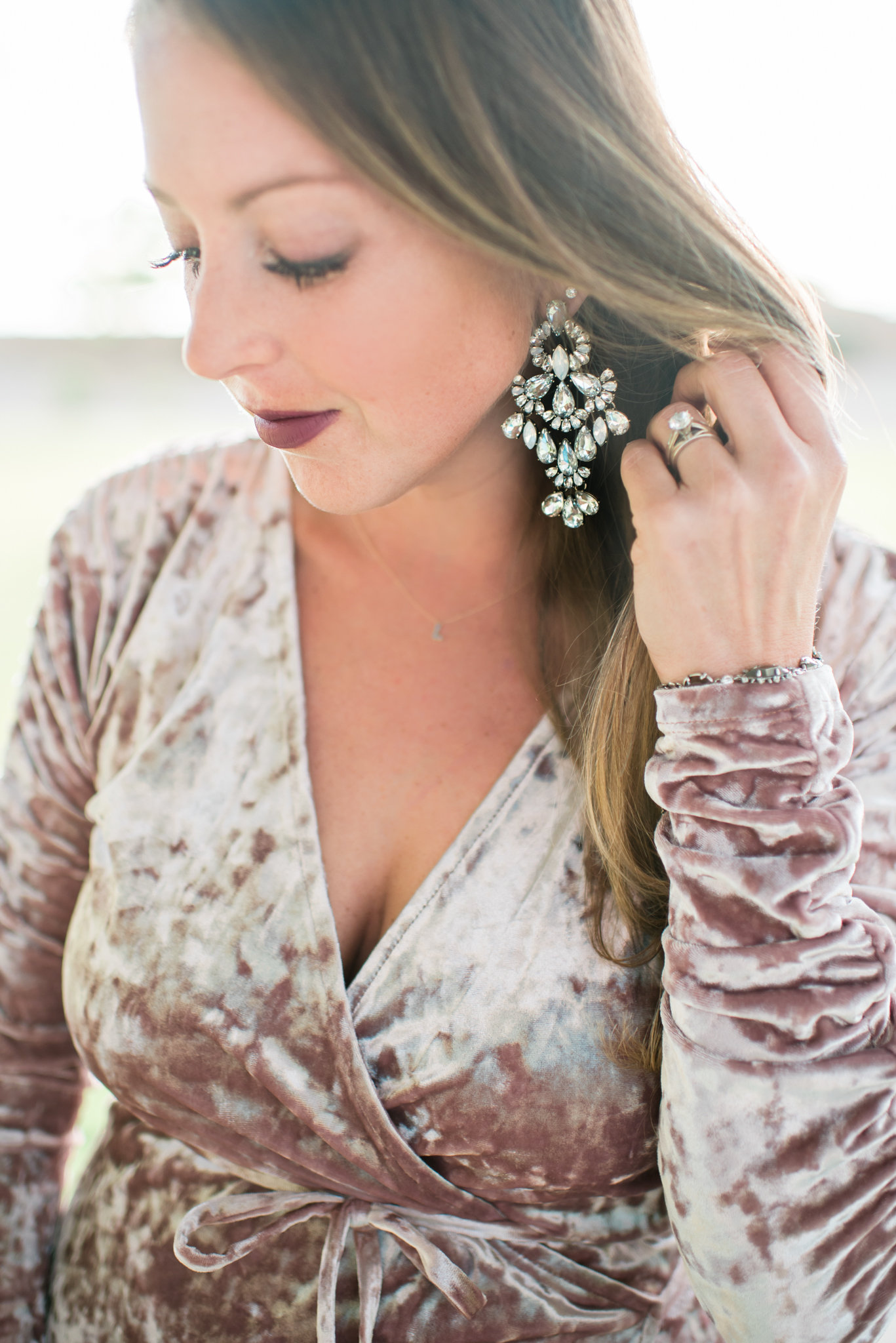 statement earrings and velvet crush