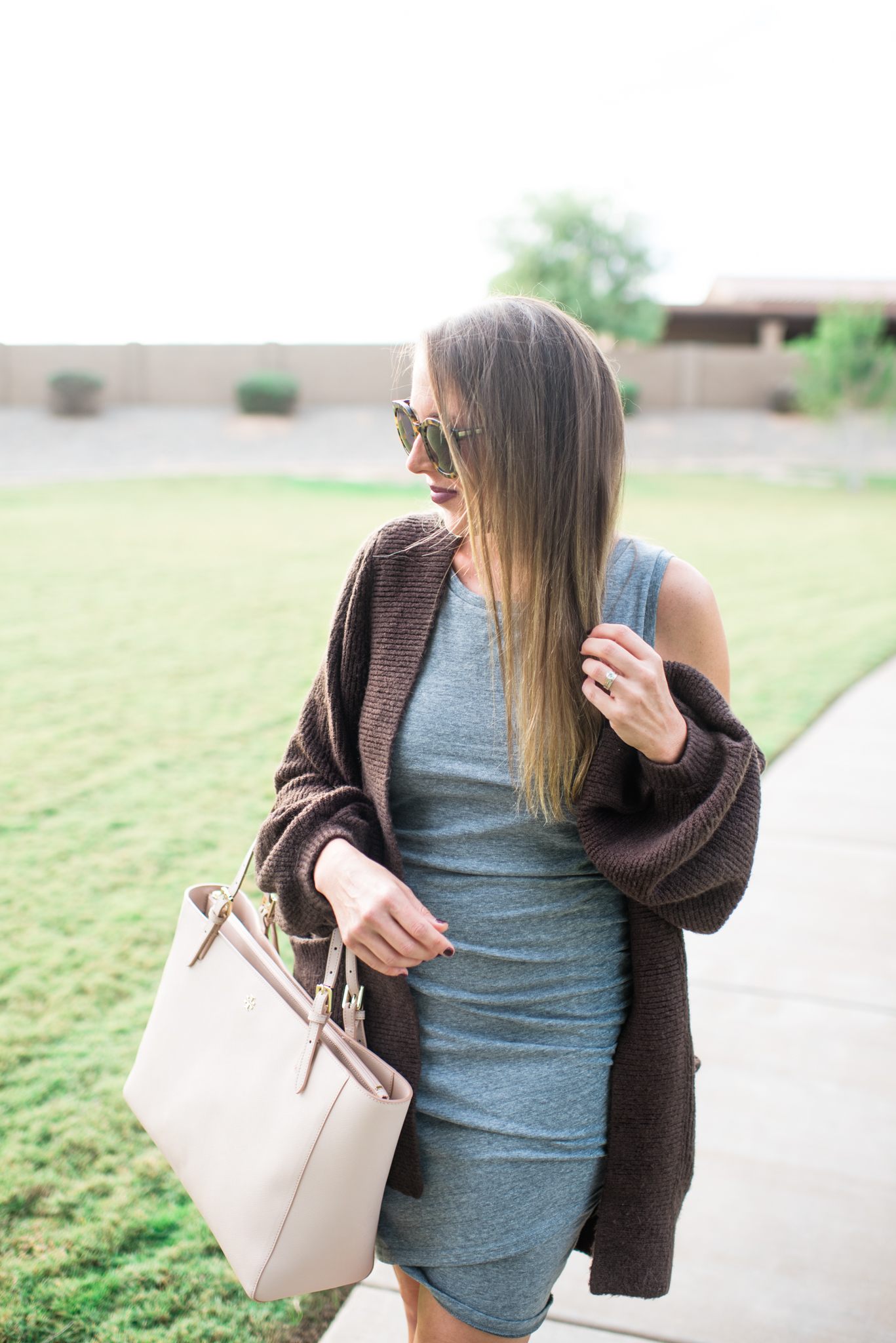 ruched body-con dress, booties, cardigan and tory burch