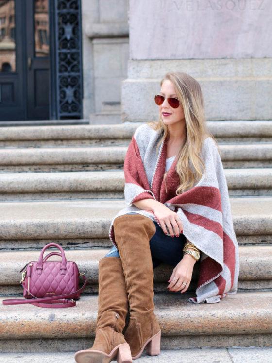 Ily Couture Burgundy Stripe Cape