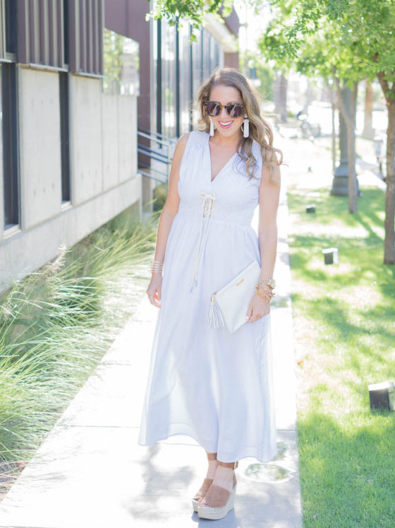 Striped Lace Up Maxi Dress